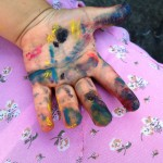 child's painted hand